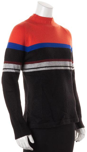 T BY ALEXANDER WANG Black Orange Striped Mock Neck Sweater