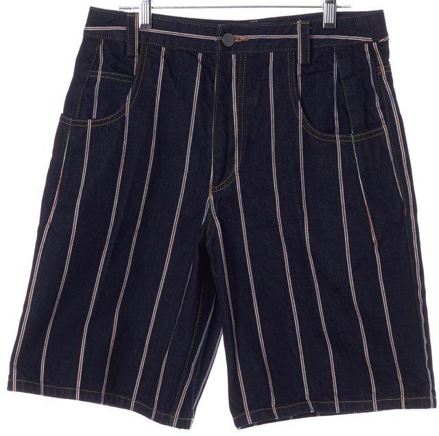 T BY ALEXANDER WANG Blue Red White Striped Bermuda Denim Shorts