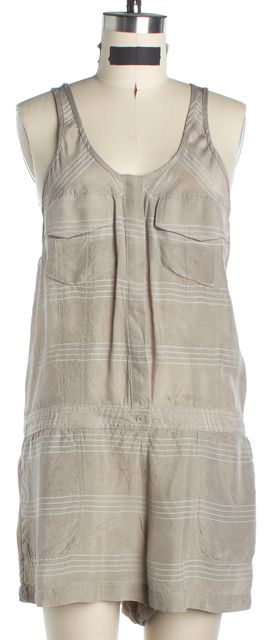 T BY ALEXANDER WANG Beige Sleeveless Plaids & Checks Jumpsuit/ Romper
