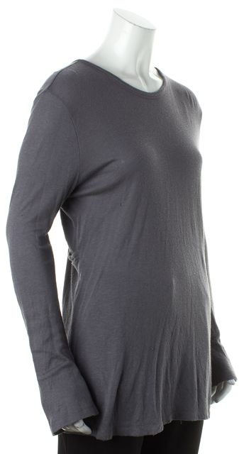 T BY ALEXANDER WANG Gray Long Sleeve Asymmetric Faux Wrap V-Neck Blouse ...