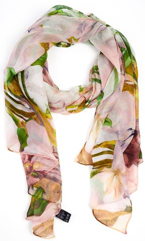 TED BAKER Pink Green Floral Print Long Scarf