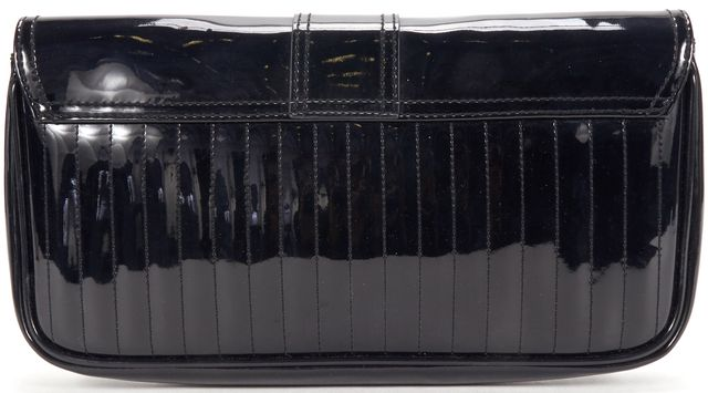 TED BAKER Black Patent Leather Fold Over Clutch