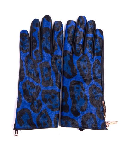 TED BAKER Blue Black Leopard Calf Hair Cashmere Lined Gloves Size M/L