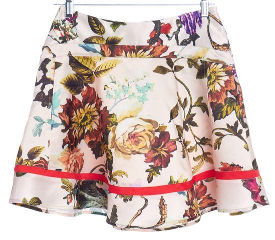 TED BAKER Ivory Multi Floral Print A-Line Skirt