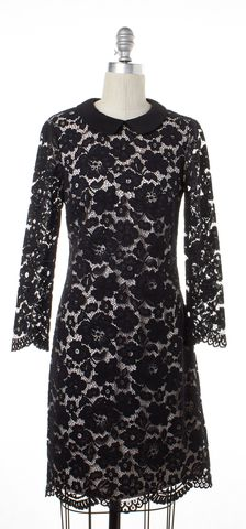 TED BAKER Black Lace Pink Lining Collared Shift Dress Size 1 US 4
