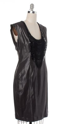 TED BAKER Black Metallic Embellished Sheath Dress