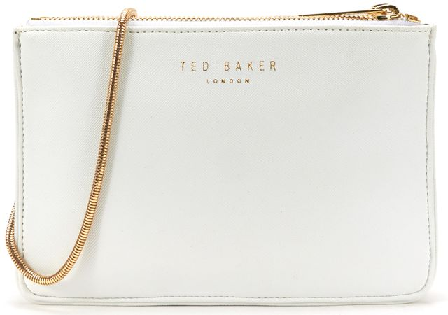 TED BAKER Authentic White Saffiano Leather Gold Hardware Crossbody Bag