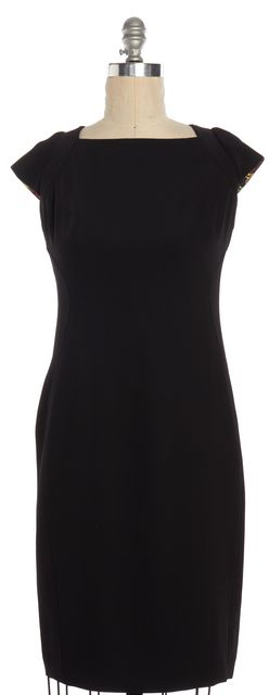 TED BAKER Black Cap Sleeve Square Neck Sheath Dress