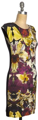 TED BAKER Black Multi-Color Floral Sheath Dress