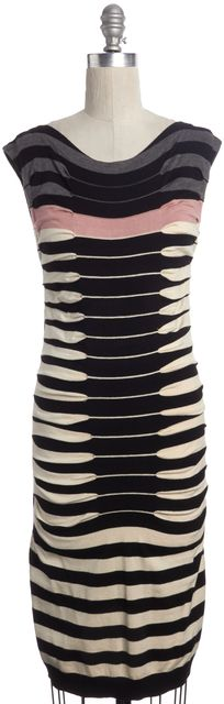 TED BAKER Black Beige Striped Knit Sheath Sweater Dress