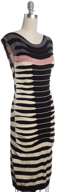 TED BAKER Black Beige Striped Knit Sheath Sweater Dress