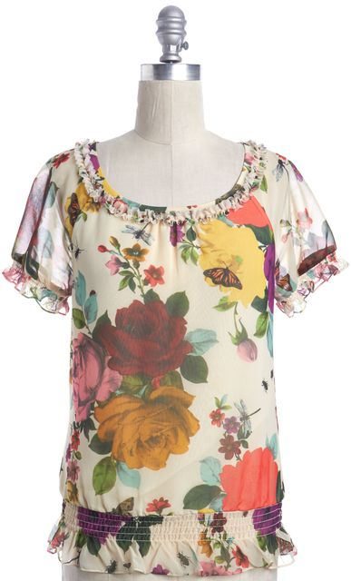 TED BAKER Ivory Red Pink Abstract Floral Print Cap-Sleeve Blouse Top