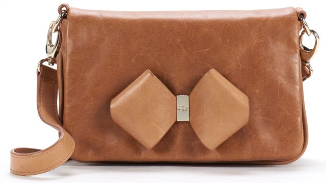 TED BAKER Brown Leather Bow Small Crossbody Bag