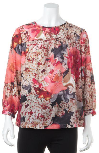 TED BAKER Pink Beige Floral Print 3/4 Sleeve Blouse Top