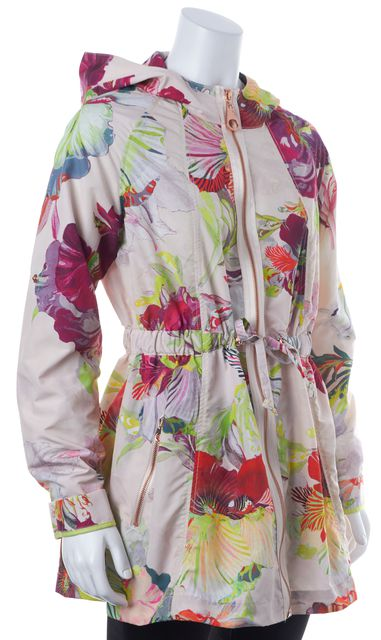 TED BAKER Pink Green Floral Garnia Zip Up Hooded Jacket