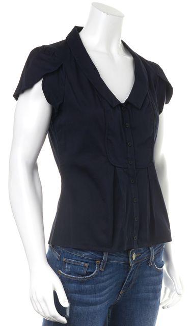 TED BAKER Navy Blue Cap Sleeve Button Down Shirt Top