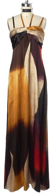 TED BAKER Multi-Color Abstract Printed Satin Formal Maxi Dress
