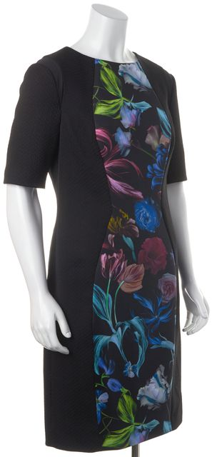 TED BAKER Black Blue Green Floral Knee Length Sheath Dress
