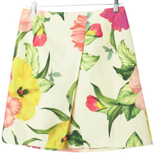 TED BAKER Ivory Pink Green Yellow Floral Print Casual A-Line Skirt