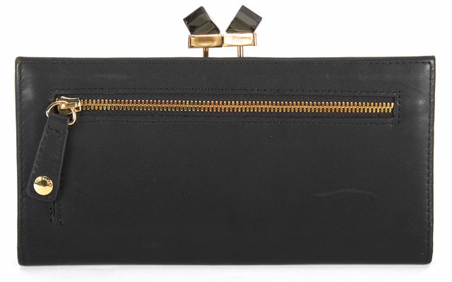 TED BAKER Black Leather Gold Hardware Kiss Lock Wallet