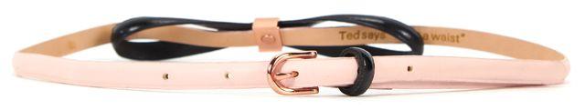 TED BAKER Pink Leather Black Bow Skinny Belt