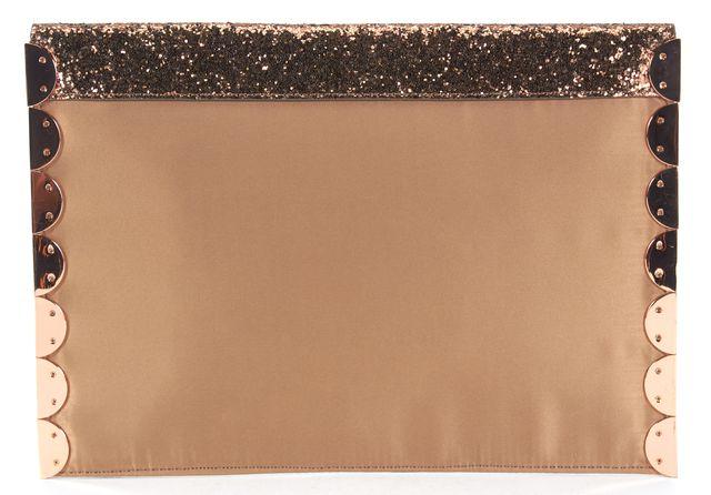 TED BAKER Bronze Glitter Scallop Rose Gold Detail Lea Envelope Clutch