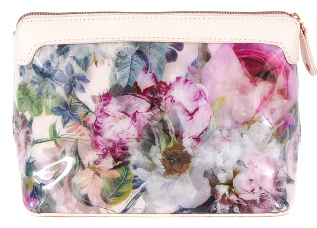 TED BAKER Pink Pure Peony Print Vinyl Leather Trim Brighto Cosmetic Bag