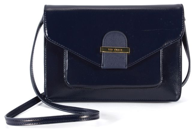 TED BAKER Navy Blue Patent Saffiano Leather Lainey Crossbody