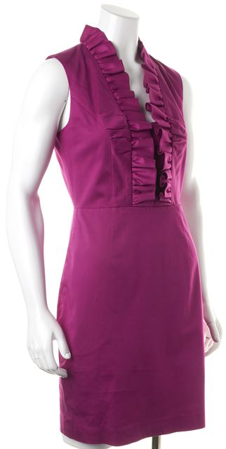 TED BAKER Purple Ruffled Sleeveless Betsi Sheath Dress