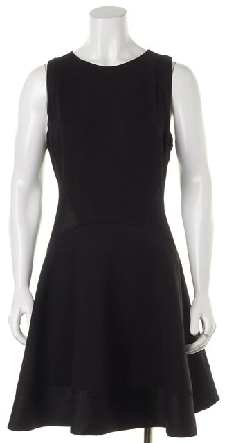 TED BAKER Black Back Zipped Viscose Blend Knee-Length Sheath Dress