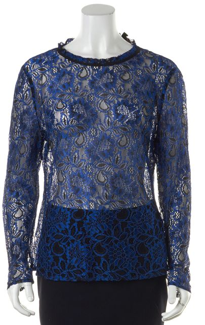 TED BAKER Royal Blue Black Floral Lace Sheer Blouse Top