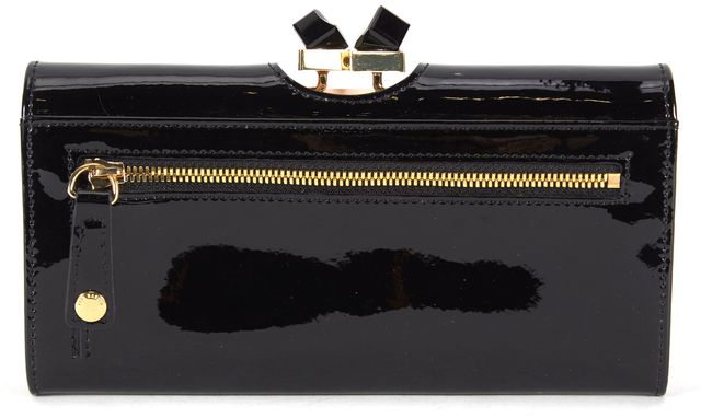 TED BAKER Black Patent Leather Crystal Kiss Lock Frame Matinee Misti Wallet