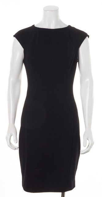 TED BAKER Black Jineen Contrast Texture Panel Sheath Dress