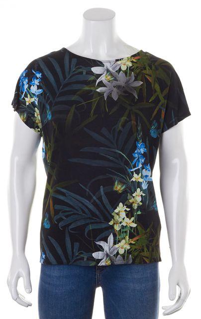 TED BAKER Black Green Blue Tropical Floral Sazia T-Shirt