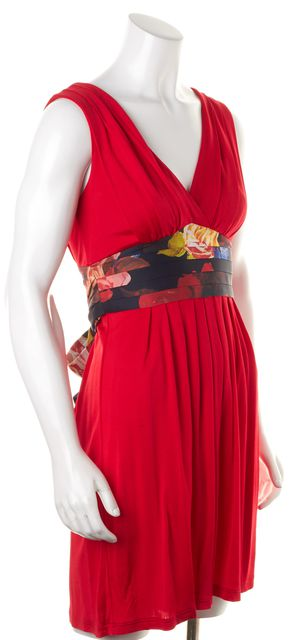 TED BAKER Red Pleated Floral Printed Waist Tie Empire Waist Dress