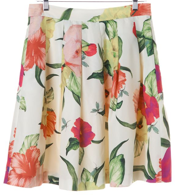 TED BAKER Multi-Color Floral Printed Pleated Full Skirt w Pockets