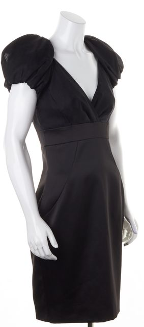 TED BAKER Black V-Neck Crossover Silk Sheath Dress