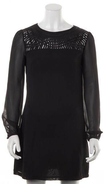 TED BAKER Black Cut-Out Detail Sheer Long Sleeves Katia Shift Dress