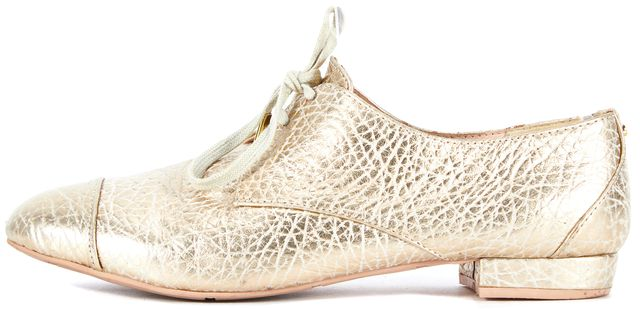 TED BAKER Gold Metallic Embossed Leather Oxfords