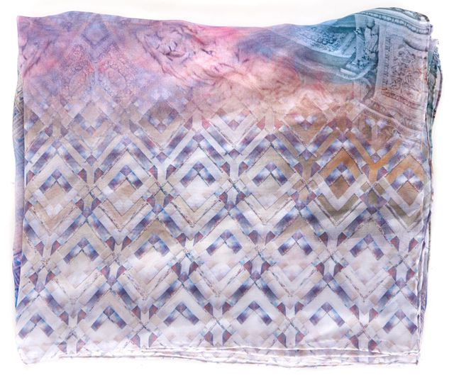 TED BAKER Purple Lavender Blue Abstract Silk Sheer Arenea Scarf