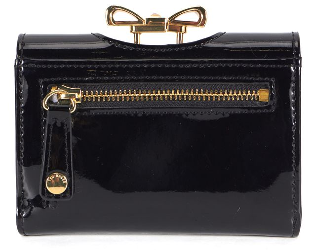 TED BAKER Black Patent Leather Kiss Lock Temmey Wallet