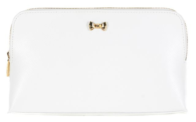 TED BAKER White Saffiano Leather Leonie Pouch Cosmetic Bag