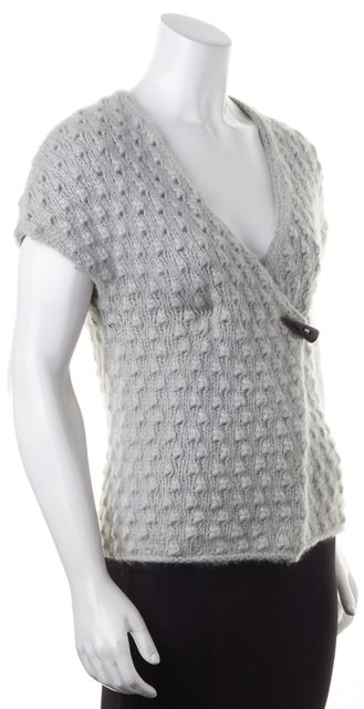TED BAKER Light Gray Textured Knit Toggle Wrap Short Sleeve Sweater