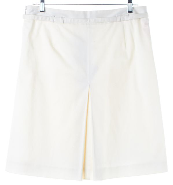 TED BAKER White Belted Privet Pleated A-Line Skirt