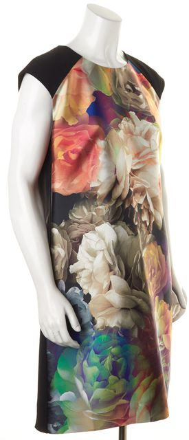 TED BAKER Black Multi Floral Printed Helaina Sheath Dress