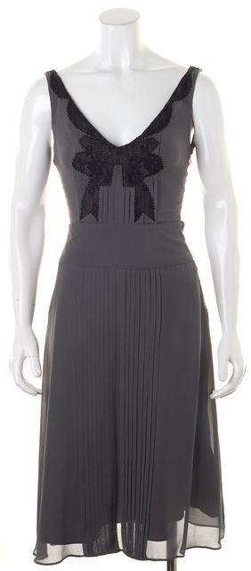 TED BAKER Gray Black Lace Silk Pintuck Pleated Sleeveless Sheath Dress