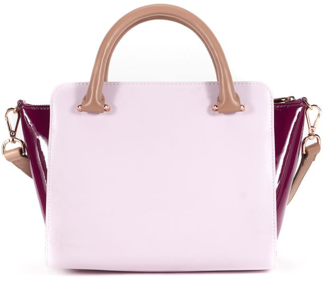TED BAKER Pale Pink Purple Color Block Bow Leather Patsey Satchel