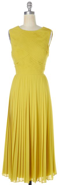 TED BAKER Yellow Pleated Sleeveless Midi Fit & Flare Dress