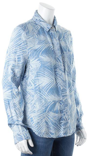 TED BAKER Blue Tropical Print Chambray Branca Button Down Shirt Blouse