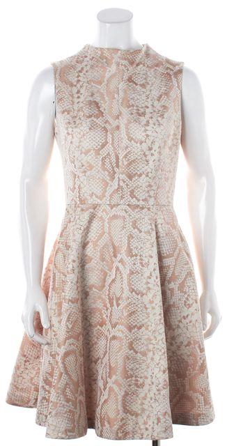 TED BAKER Metallic Beige Floral A-Line Dress